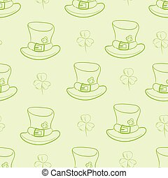 Seamless contours of hats and shamrocks - Seamless texture...