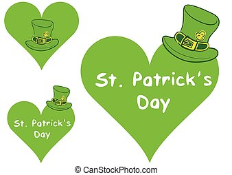 Hearts with Saint Patricks hat - Illustration with a green...