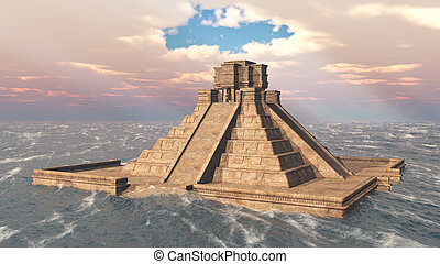 Mayan temple in the ocean - Computer generated 3D...