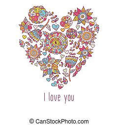 Doodle heart St. Valentine's day card. Invitation.