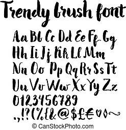 Brush written alphabet - Trendy hand written brush font....