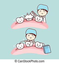 cute cartoon dentist brush tooth - cute cartoon dentist...
