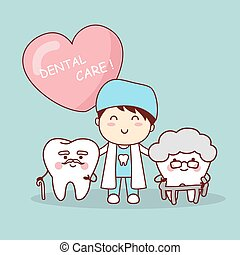 Happy cartoon old tooth with dentist, great for health...