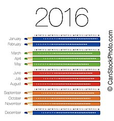 English calendar for 2016 on colorful pencils