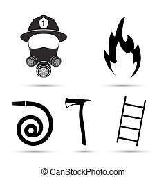 Fire fighter equipment icons vector set isolated on white...