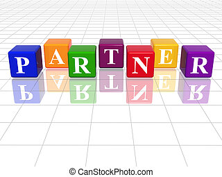 colour partner - 3d colour cubes with text - partner, word,...