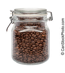 Coffee Beans in a Glass Canister with a Metal Clamp. The...