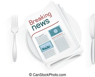 breaking news tablewares - Breaking newspaper on a plate on...