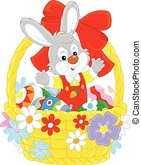 Easter Bunny - Little grey rabbit sitting in an Easter...