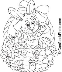 Easter Bunny - Little rabbit sitting in an Easter basket...