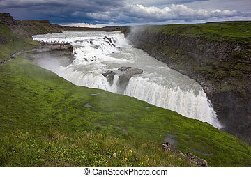 Gullfoss - Panoramic view of the Gullfoss fall, Iceland