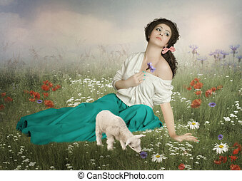 The young shepherdess - Young girl with long hair, dreamy...