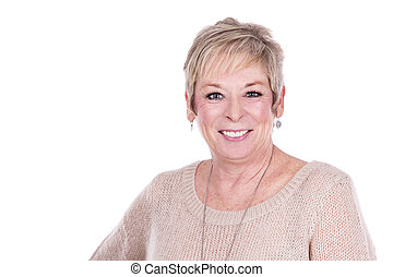 casual mature woman - caucasian middle aged woman on white...