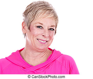 fit woman - caucasian middle aged woman on white background