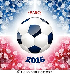 Soccer ball poster with french flag like background - Soccer...