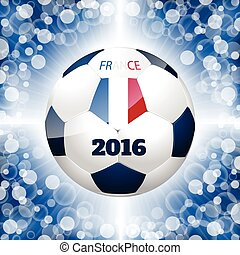 Soccer ball poster with blue background and french flag -...