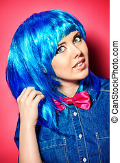 acid colors - Beautiful girl wearing bright blue wig and...