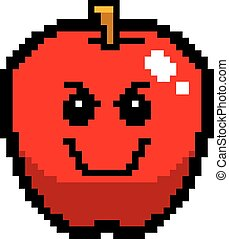 Evil 8-Bit Cartoon Apple - An illustration of an apple...