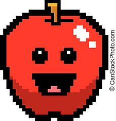 Smiling 8-Bit Cartoon Apple - An illustration of an apple...
