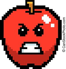 Angry 8-Bit Cartoon Apple - An illustration of an apple...