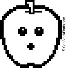 Surprised 8-Bit Cartoon Apple - An illustration of an apple...