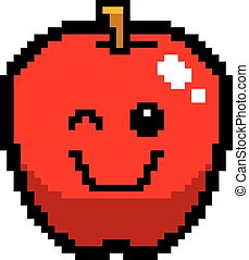 Winking 8-Bit Cartoon Apple - An illustration of an apple...
