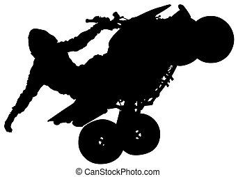 Motor quad sport - People and sport bike on white background