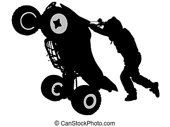 Quad sport - People and sport bike on white background