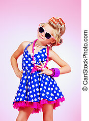 Kid's fashion, cosmetics. - Fashionable little girl in her...