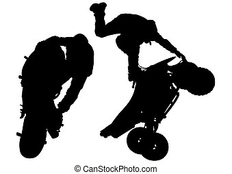 Sport motor bike - People and sport bike on white background