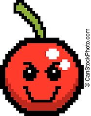 Evil 8-Bit Cartoon Cherry - An illustration of a cherry...