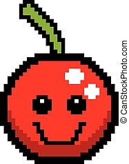 Smiling 8-Bit Cartoon Cherry - An illustration of a cherry...