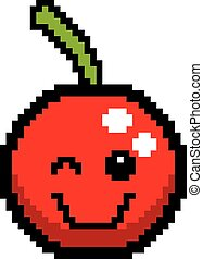 Winking 8-Bit Cartoon Cherry - An illustration of a cherry...