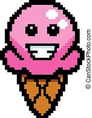 Smiling 8-Bit Cartoon Ice Cream