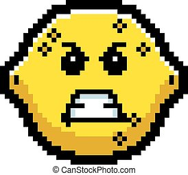 Angry 8-Bit Cartoon Lemon - An illustration of a lemon...