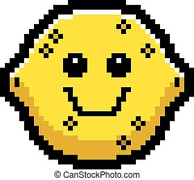 Smiling 8-Bit Cartoon Lemon - An illustration of a lemon...