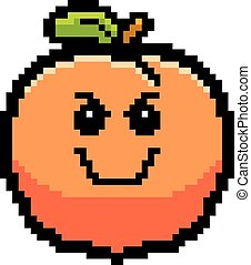 Evil 8-Bit Cartoon Peach - An illustration of a peach...