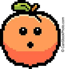 Surprised 8-Bit Cartoon Peach - An illustration of a peach...