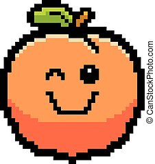 Winking 8-Bit Cartoon Peach - An illustration of a peach...