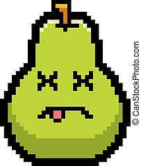 Dead 8-Bit Cartoon Pear - An illustration of a pear looking...