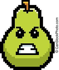 Angry 8-Bit Cartoon Pear - An illustration of a pear looking...