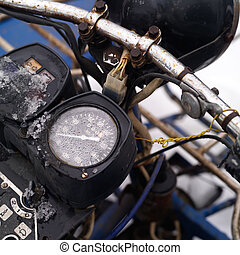 Motorcycle Retro Odometer - Closeup of a chrome coated rusty...