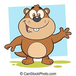 sorridente, marmotta, cartone animato, Character, ,