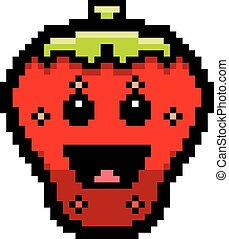 Smiling 8-Bit Cartoon Strawberry - An illustration of a...