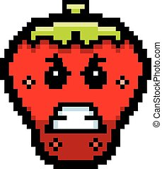 Angry 8-Bit Cartoon Strawberry - An illustration of a...