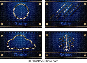 Weather icons on blue jeans background - Weather icons and...