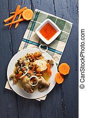 Chicken bonne femme overhead - Chicken bonne femme with...