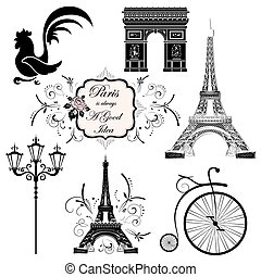 Set on the theme of France - A set of symbols and landmarks...