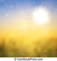 Sun with lens flare, vector background - Sun with lens...