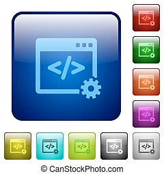 Color web development square buttons - Set of web...